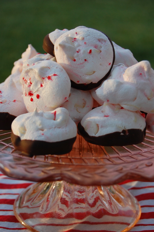 Peppermint White Chocolate Meringues