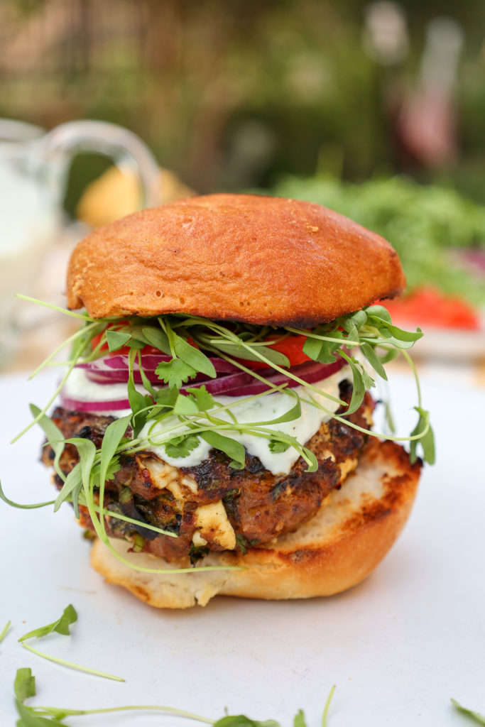 Spicy Lamb Burgers with toppings