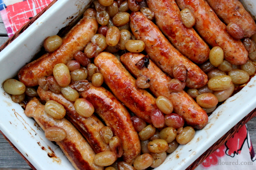 Roasted Sausages & Grapes