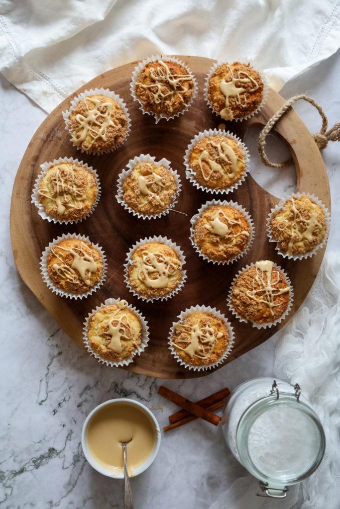 Gluten Free Coffee Cake Muffins being glazed