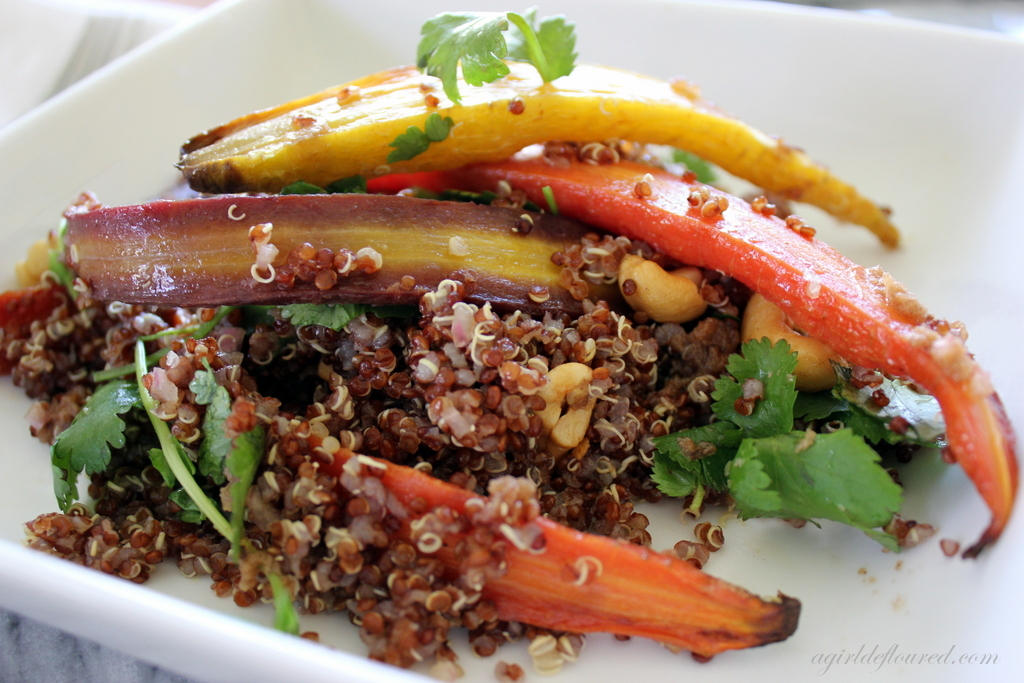 Red Quinoa  Roasted Carrot Salad w/ Cinnamon  Cumin Vinaigrette