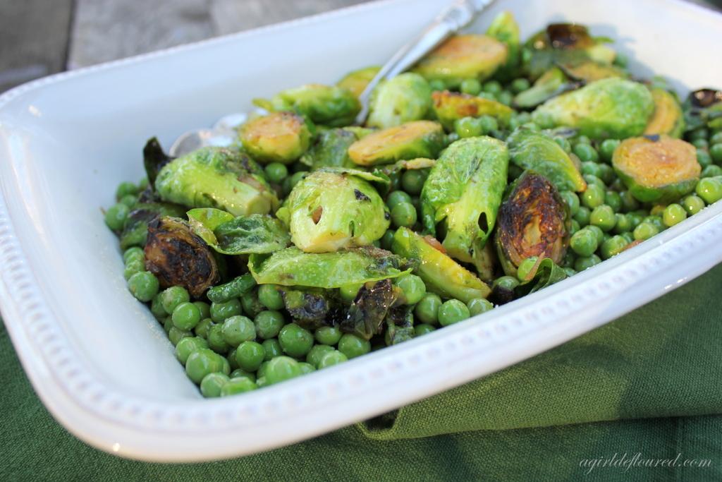 Peas & Brussels Sprouts w/ Mint Jalapeño Vinaigrette