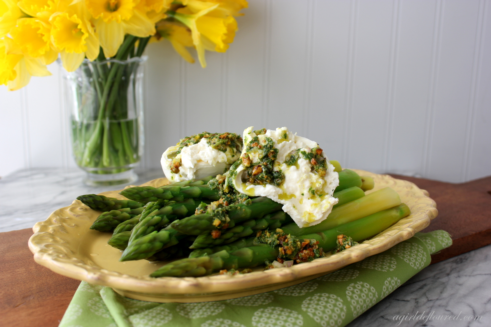 Asparagus with Burrata and Pistachio Salsa Verde {Cookbook Giveaway}