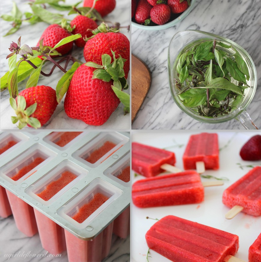 Strawberry Basil Paletas