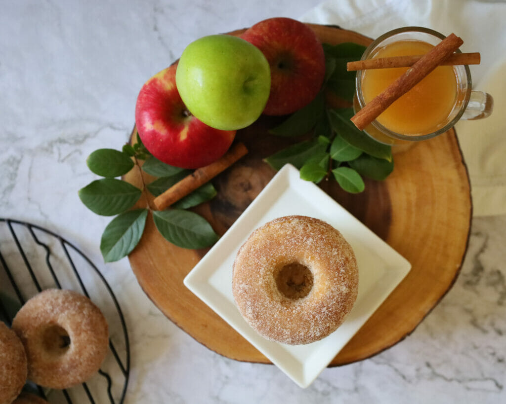 Baked Gluten Free Apple Cider Doughnuts Overhead