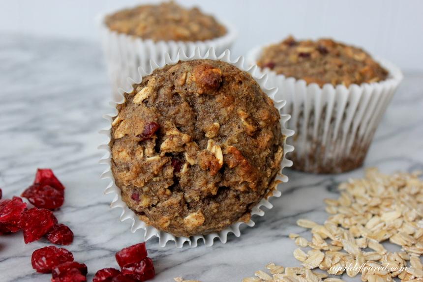 Whole Grain Gluten Free Cranberry Oat Muffins