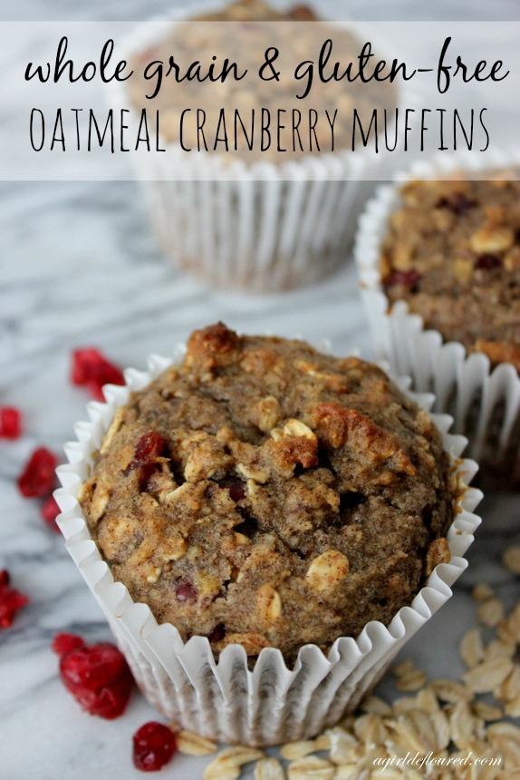 whole grain and gluten-free oatmeal cranberry muffins