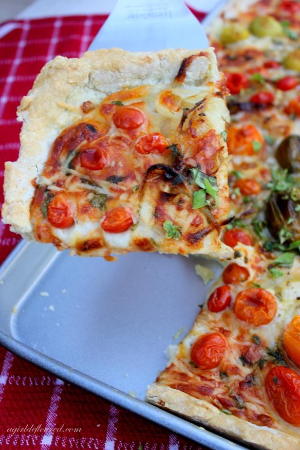 gluten-free tomato slab pie