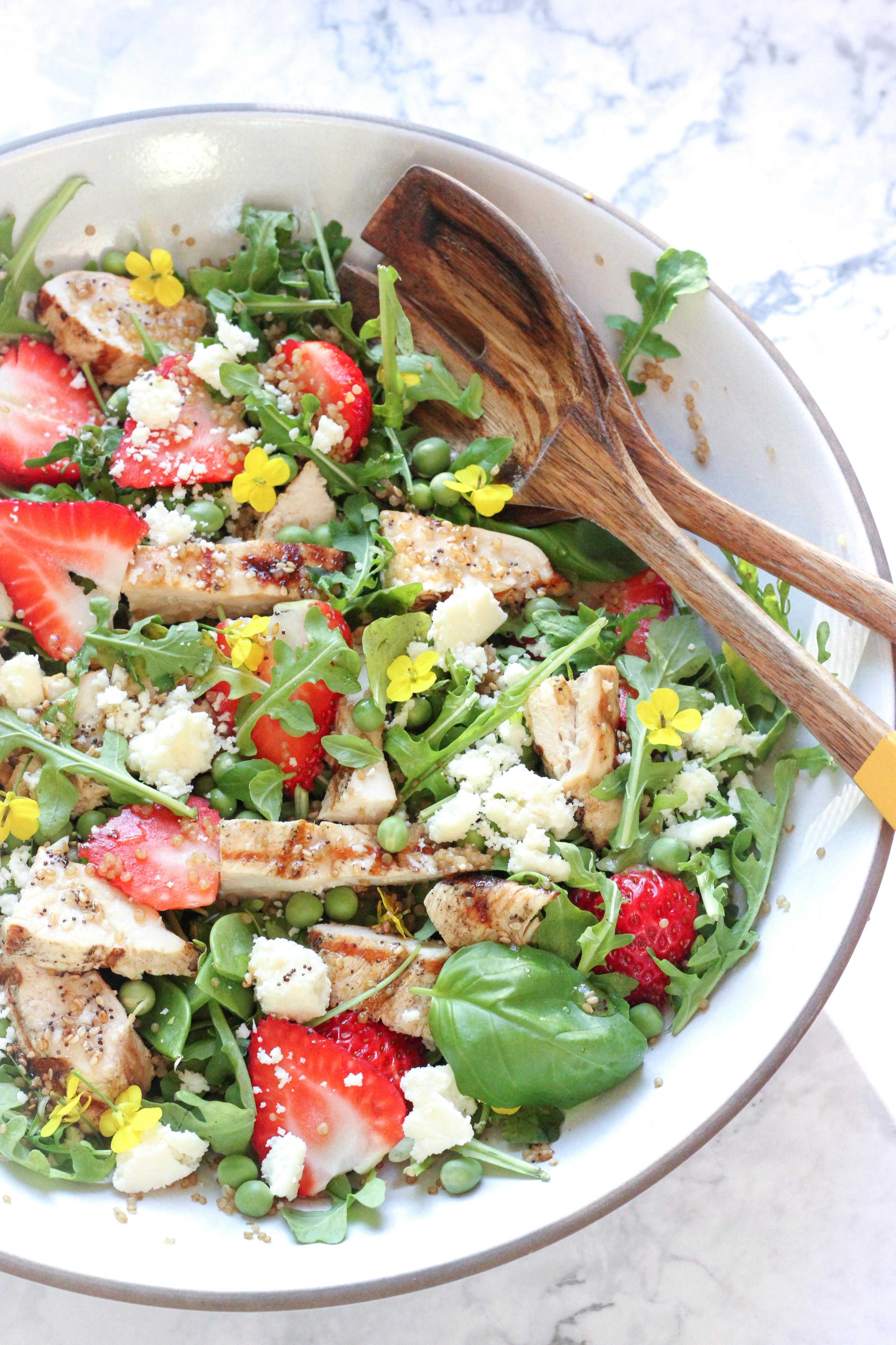 Grilled Chicken Salad with Strawberry, Arugula & Quinoa