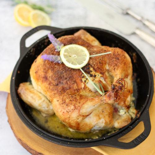 Lemon Lavender Roasted Whole Chicken