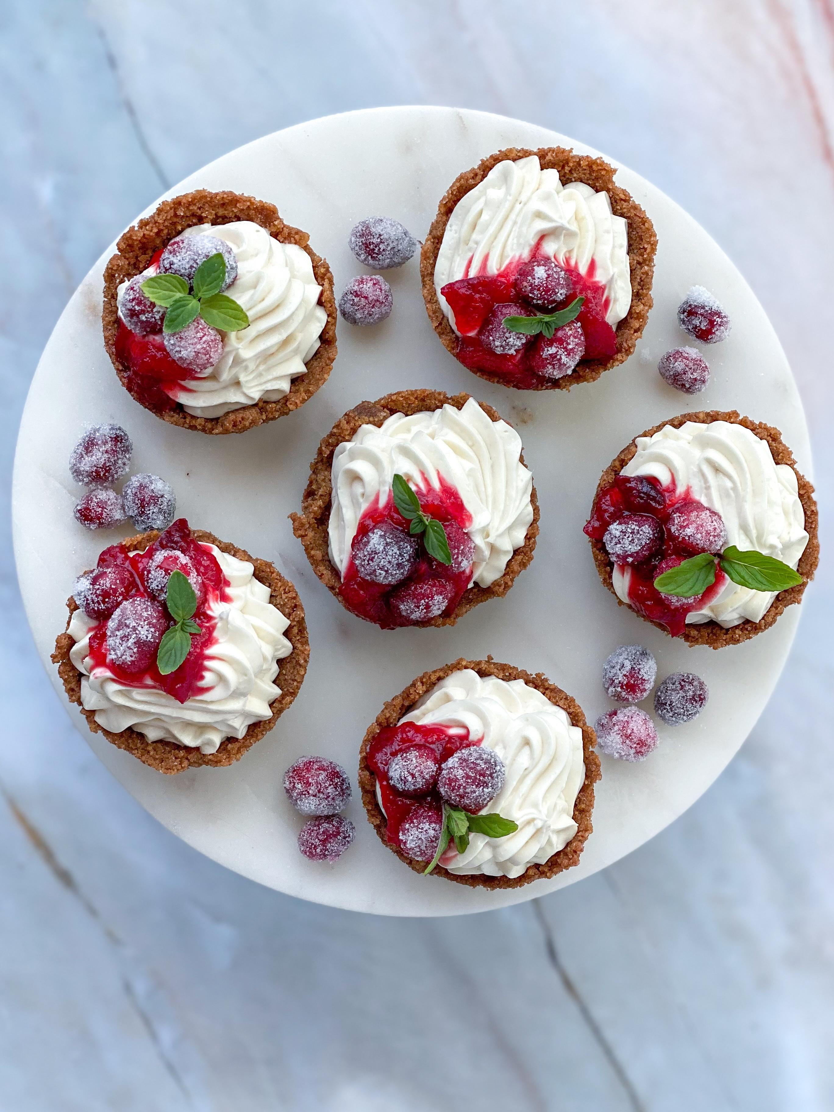 Boozy Cranberry Cheesecake Tarts
