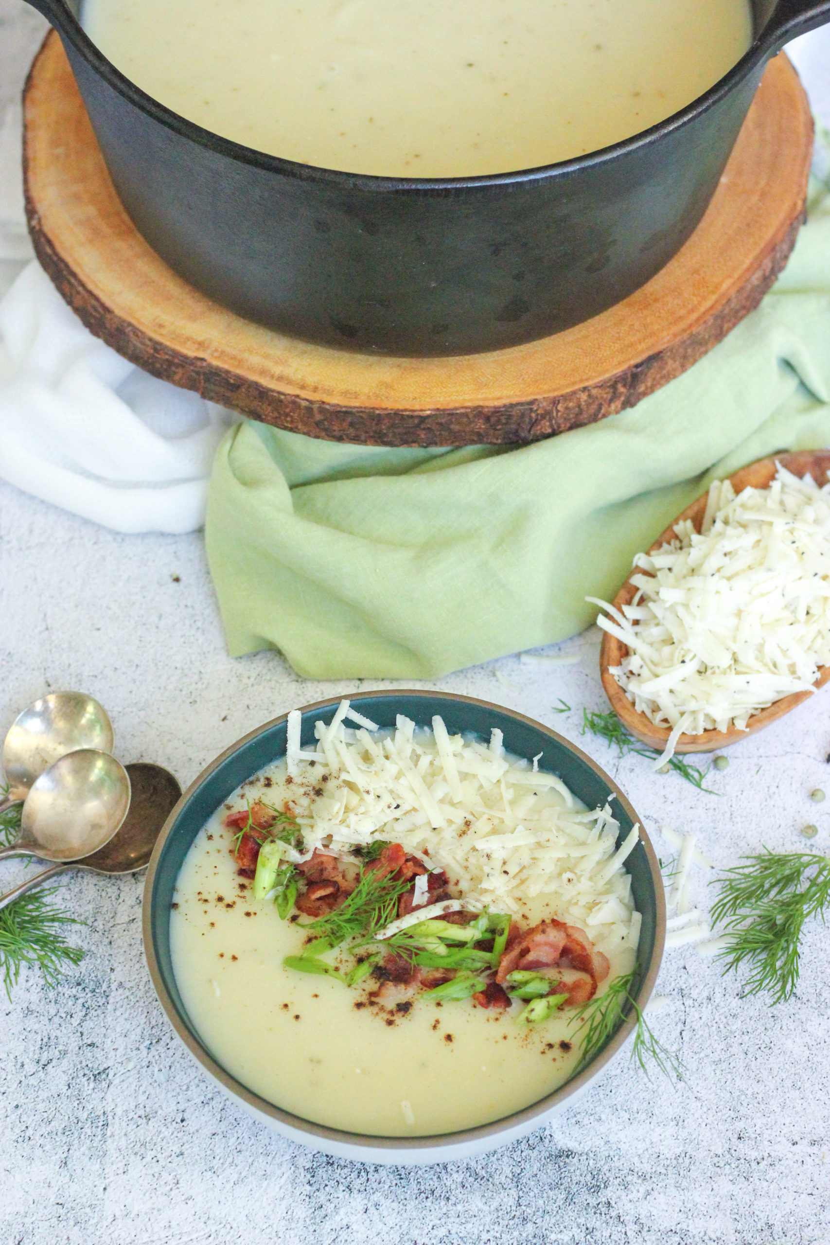 Creamy Potato Soup with Truffle Cheddar