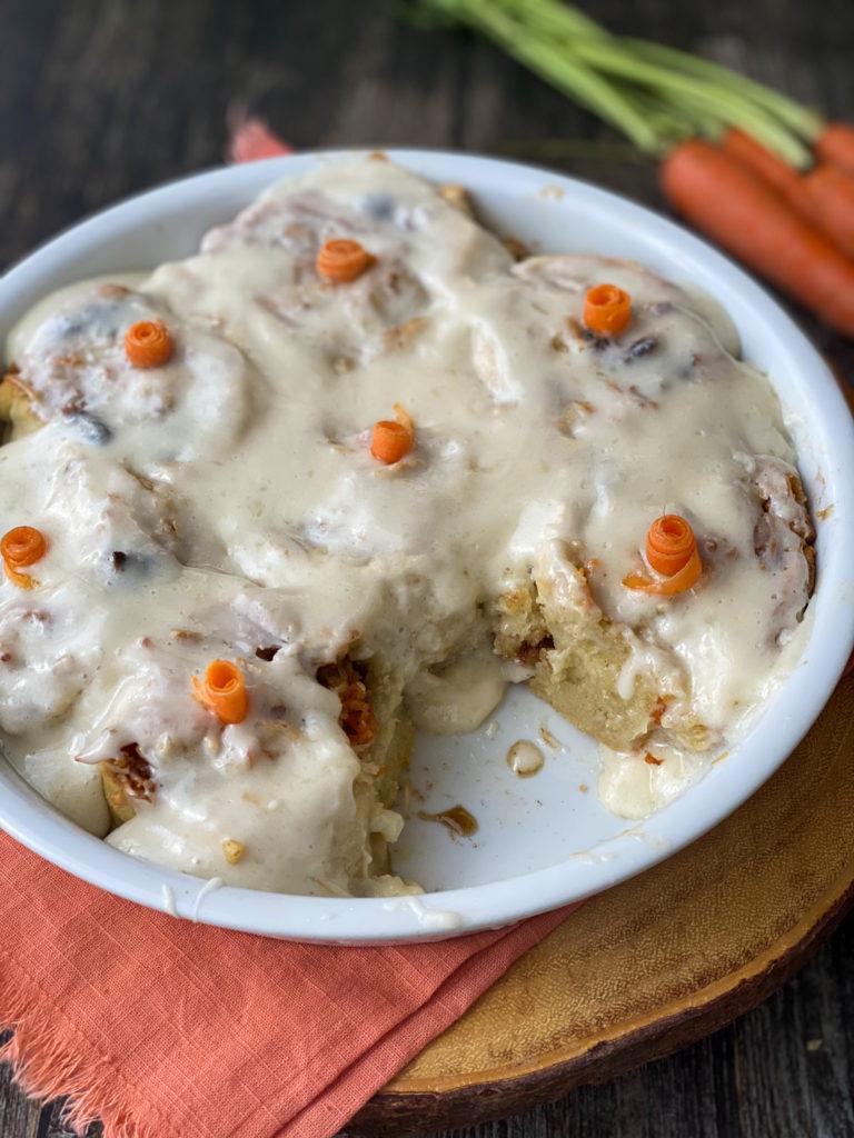 Loaded Gluten-Free Carrot Cake Cinnamon Rolls