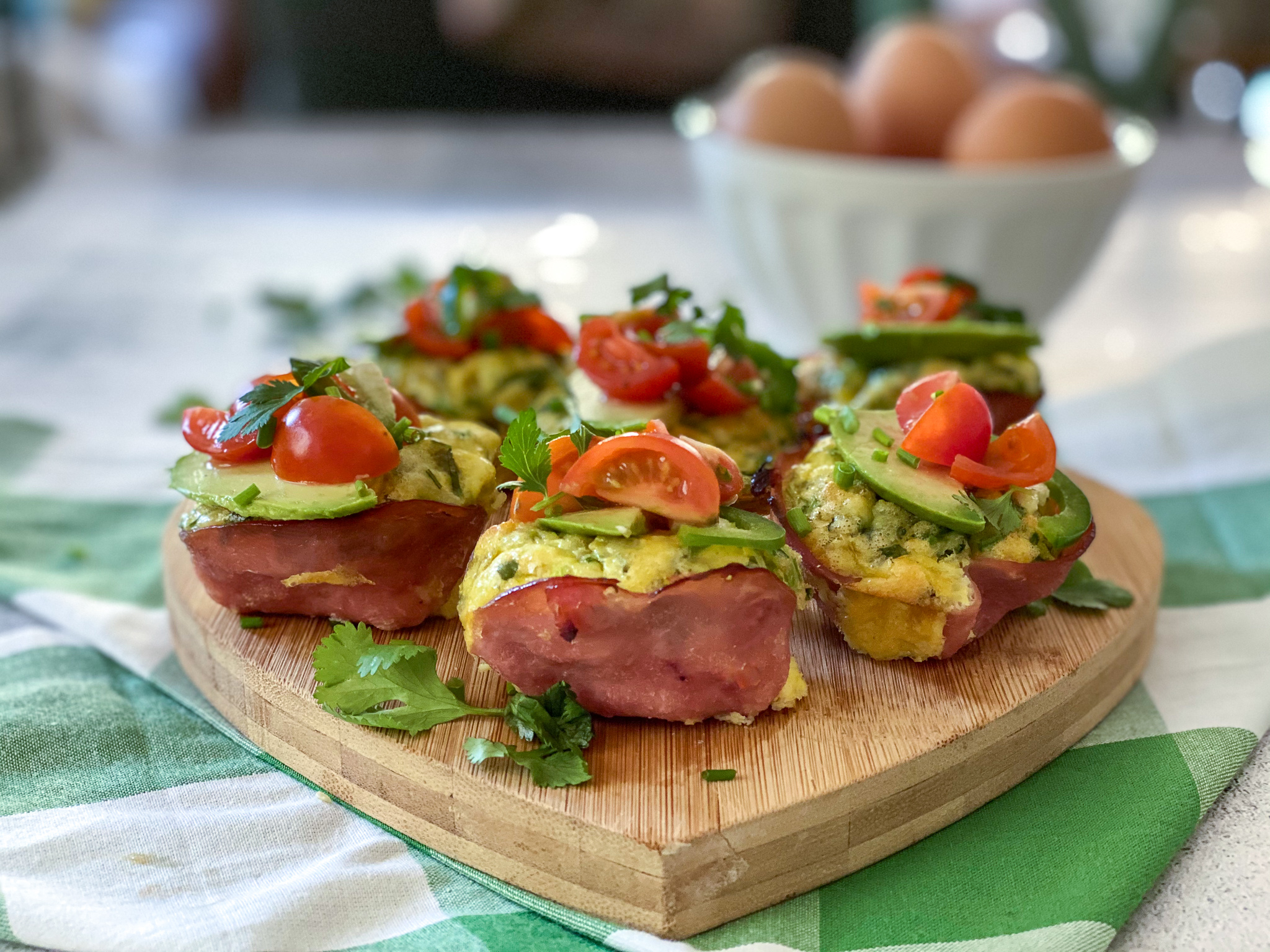 Green Chile Ham and Egg Cups