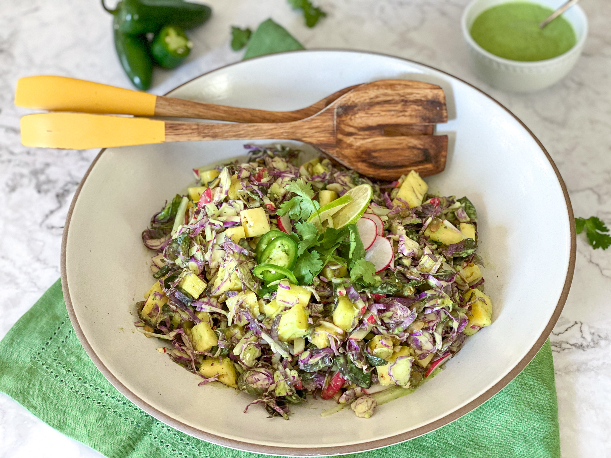 Brussels Sprout Slaw with Aji Verde Dressing