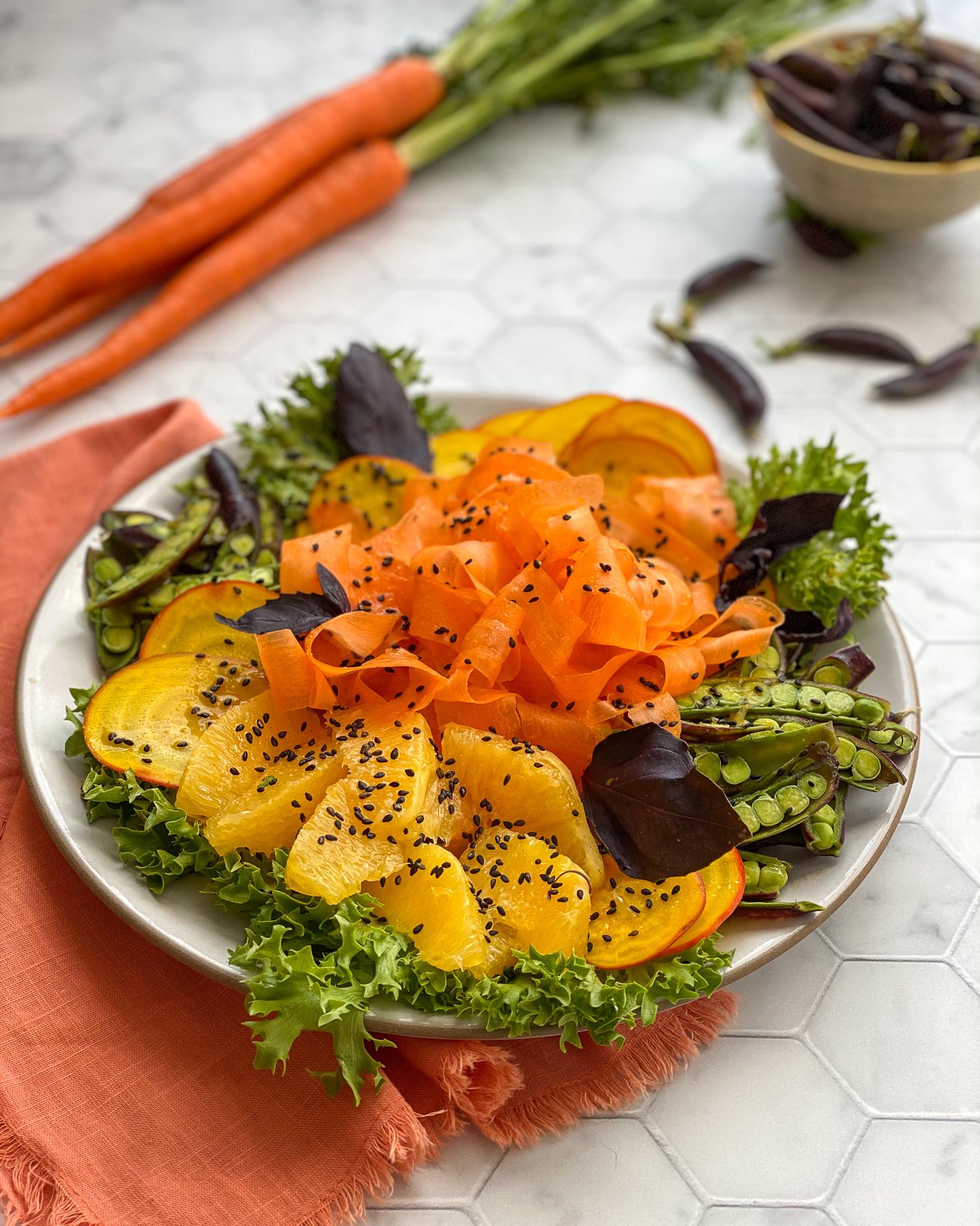 Shaved Beet & Carrot Salad with Orange Miso Vinaigrette