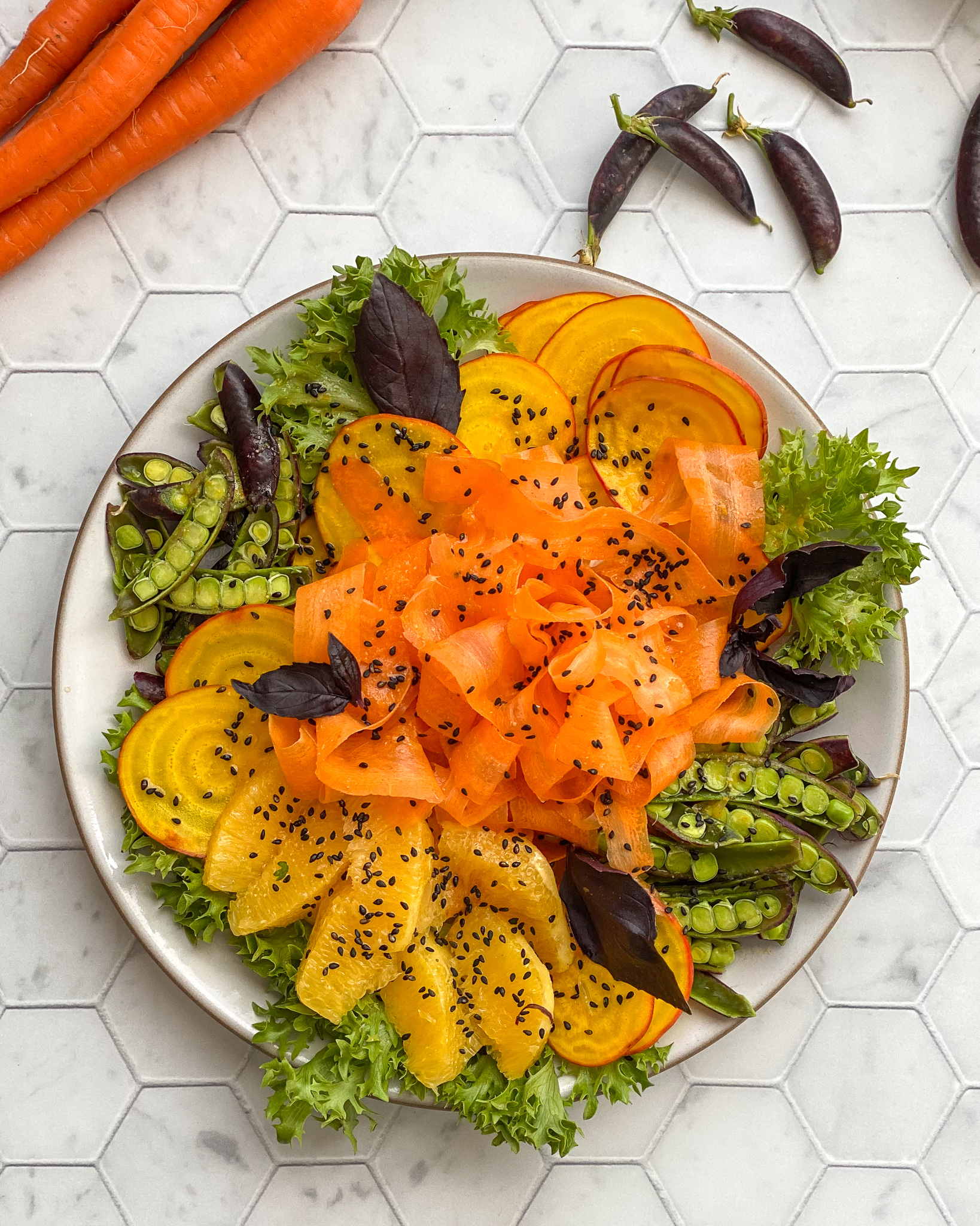 Shaved Carrot, Beet, and Snap Pea Salad with Orange Miso Vinaigrette