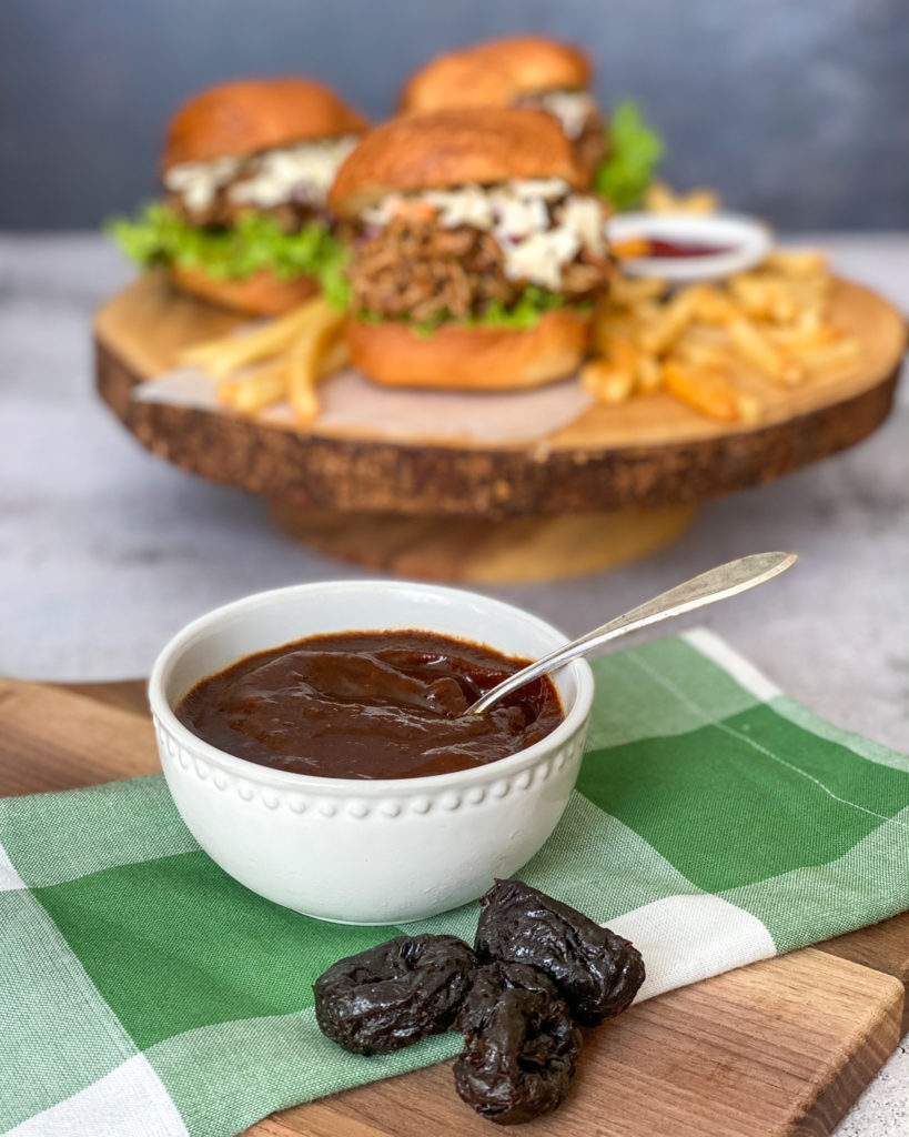 Prune BBQ Sauce on Pulled Chicken Sandwiches