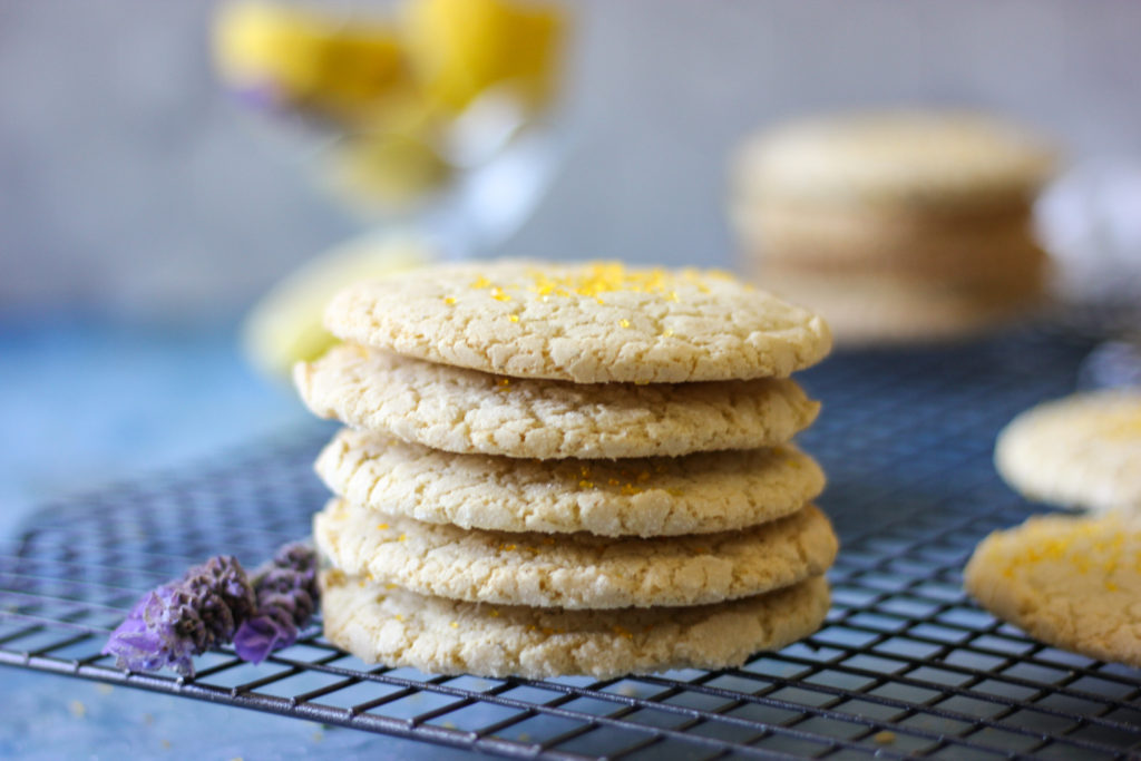Gluten Free Lemon Lavender Snickerdoodle Cookies on a rack