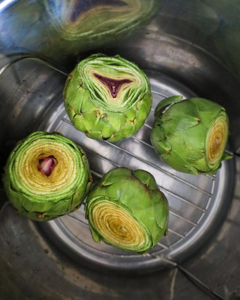 Fresh California Artichokes in an instant pot