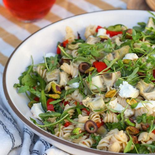 Zesty Artichoke Pasta Salad with Goat Cheese