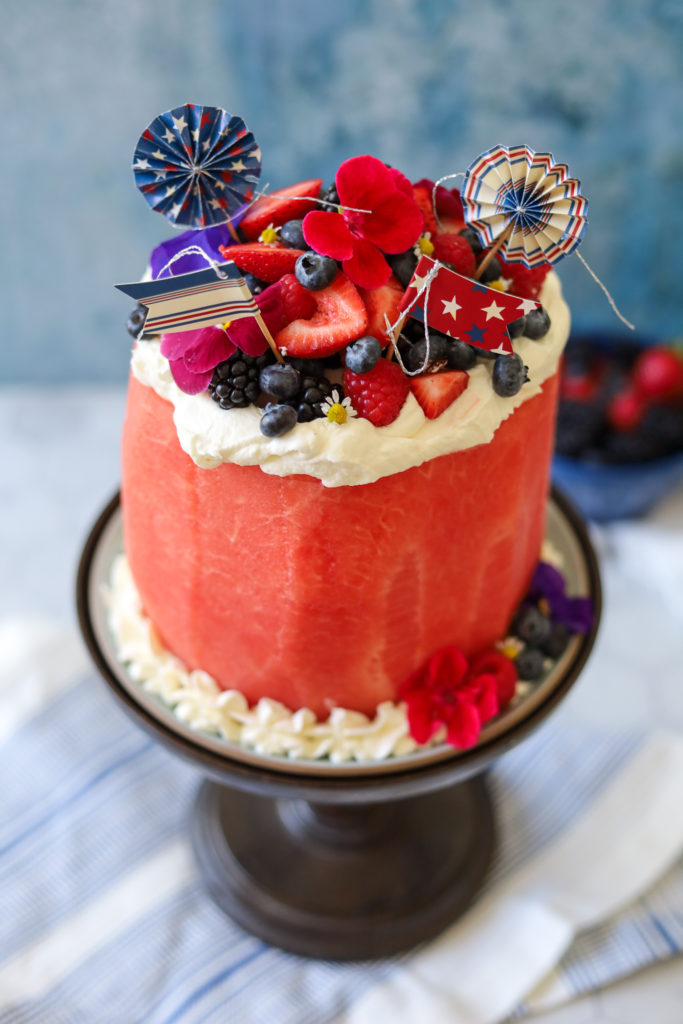 Adorable Fresh Watermelon Cake with Summer Berries on a platter