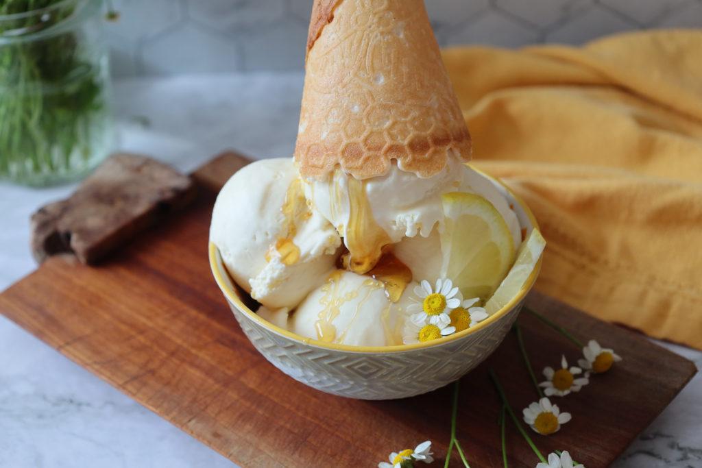 The Best Homemade Lemon Honey Ice Cream