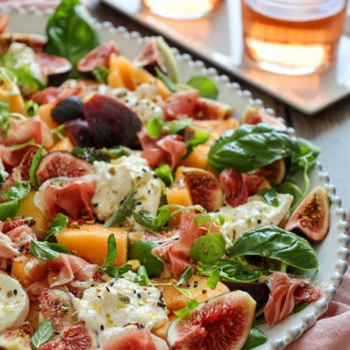 Fig, Melon, Dukka Salad with Prosciutto and Burrata