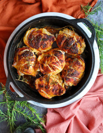 Oven Chicken Thigh Recipe with Paprika and Rosemary