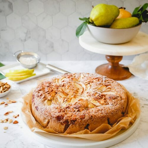 Gluten Free Olive Oil Cake Recipe with Pears and Almonds