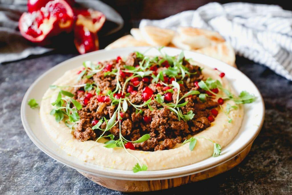 Hummus with Ground Lamb Mince